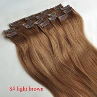 "15"" 18"" 20"" 22""8# light brown 100% clip in human hair extensions remy hair full head 7pcs 70g 80g"