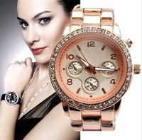5pcs/lot Wholesale,2014 New Famous Brand Women Rhinestone Watches,Stainless Steel Women Quartz Dress Wristwatch With Logo