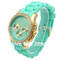 2014 New Famous Brand Women Rhinestone Dress Watches, Good Quality Silicone Jelly Quartz Wristwatch With Logo,Free Shipping