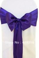 Wholesale 50pcs Purple Satin Chair Sashes Bows Ribbon 15cmX275cm Wedding/HOT/Free shipping