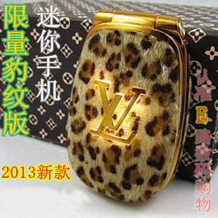 2013 HOT LED special flash light Dual SIM small girl's lady cute leopard leather phone flip mini Mobile Phone Cell Phone M9 P30