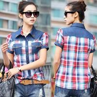 Summer Women's Plus Size Rivets Plaid Shirt Blouse Turn-Down Collar Denim Patchwork Short Sleeve Shirt Tops