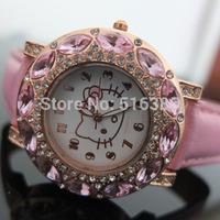 10PCS New Fashion Big Diamond hello kitty watch lady girl kid leather quart watch,pink/white child wristwatch for women gift