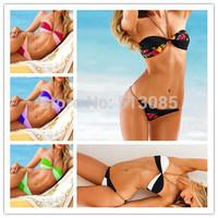 Drop Shipping 2014 Metal Chain Halter Bikinis Set For Women, Vintage Padded Sexy Swimwear, Pin Up Push Up Swimsuit