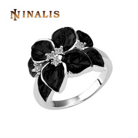 Free Shipping(Min. Order is $10) Top Quality Austrian Crystal Black Oil Leaf Ring, 18K Gold Plated Ring, Rhinestone SWA Elements
