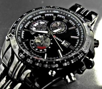 CURREN 8083 Men Sports Quartz Watches with Date Full steel Wristwatches Black case