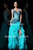 Free Shipping Sleeve Deep v-neck Shoulder Belt Swarovski Rhinestones Layered Tulle Prom dresses Evening gowns All Color