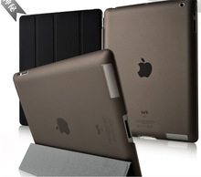 1 Pair/lot PU Leather Magnetic Front Smart Cover+Crystal Hard Back Case Shell For ipad 2 ipad 3 ipad 4(China (Mainland))