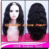 Free Gift !!!100% Brazilian Vrigin U Part Wig Human Hair Natural color 130%-150% Density half wig in stock u part wig u part wig