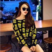 Bart Simpson knitted cardigan women crochet top sweater outerwear fashion women retro loose cardigan sweater
