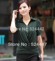 Summer Plus Size Women Brief Fashion OL Shirt Chiffon Short-Sleeve sequins polo Shirt Basic Sweater 3XL,4XL,XXXXXL