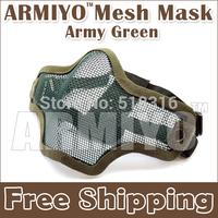 Armiyo Protective Half Face Metal Mesh Mask Resistant Army Green Fits Hunting Shooting Training Free Shipping