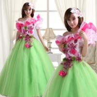 201wedding dress formal dress woman's clothes one shoulder long design green flower fairy  puff sleeve