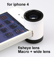 1Pcs Free shipping High quality New arrival  3 in 1 lens 180 Fisheye Lens Macro Lens Wide angle Lens Teog lens for iphone  4/4s