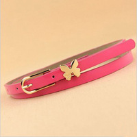 3 pcs/lot 2013 Fashion all-match bow thin neon color candy color butterfly thin belt decoration belt strap