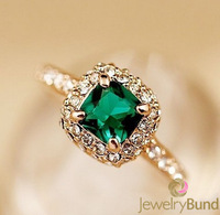 New Arrival 18K Gold  Plated Green Crystal Wedding Rings for Women High Quality Hypoallergenic Free Shipping-Jewelry Bund