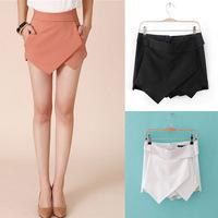 Size XS to XXL Women's Summer Fashion Candy Colors Chiffon Tiered Zipped-up Short Mini Shorts Pants Skorts