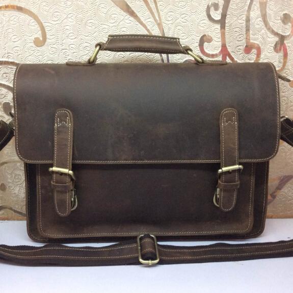 Crazy horse leather men's Briefcases messenger bags men bag business laptop handbags shoulder tote vintage man travel bag 2015(China (Mainland))