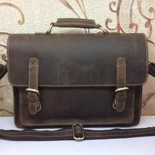 Crazy horse leather men's Briefcases messenger bags men bag business laptop handbags shoulder tote vintage man travel bag 2015  (China (Mainland))