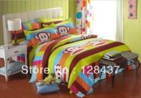 Cartoon  bedding set, Reactive Printed Microfibre  4PCS/set Duvet Cover Set include bed sheet,bedspread,pillowcase Free Shipping