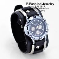 [Free Shipping] Hiphops style--Fashion vintage punk watch wide black leather bracelet  men's watch