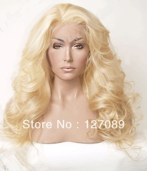 Free Shipping heat resistant synthetic lace front wig 16/18/20/22/24/26 inch color body wave 613 color blonde