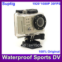 Sports camera FHD1080P Waterproof Bike Helmet Action Dash Camera Cam DVR Suptig (like gopro )+170 wide Angle lens Free shipping
