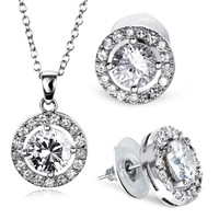Free Shipping 2013 New Cubic Zircon Pendant and Stud Earrings Jewelry Set  Romantic  Bridal Jewelry Nickel Free Plating 64170-02