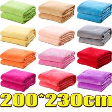 für Queen-Size 200*230cm 12 verschiedene farben sofa/Luft/betten werfen einfarbig und doppelseitigen Reise flanelldecke(China (Mainland))