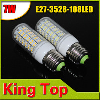220-240V E27-3528-108LED+Free Shipping+LED Bulbs 108LEDs Lamps 3528 SMD E27 12W Warm White/White Home Lighting 8pcs/LOT