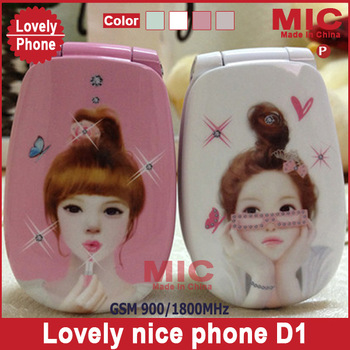 Flip modern beautiful girl lovely unlocked cartoon small size women kids ladies cute mini cell mobile phone cellphone D11 P47