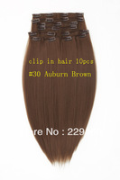 New Fashion Women's The long straight synthetic Clip in hair extension 10 pcs #30 Auburn Brown 18 inch 20inch 22ich  24 inch