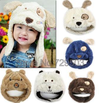 Free shipping Ear protector cap Cartoon Puppy Dog Bear baby hat Winter beanie Children hats Cute kids cap Cozy titfer A05M10
