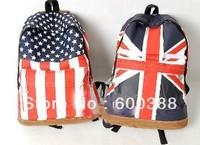 Hot Fashion British Britain American UK USA Flag Bag Canvas Packbag Student School Outdoor Travel Hiking Backpack