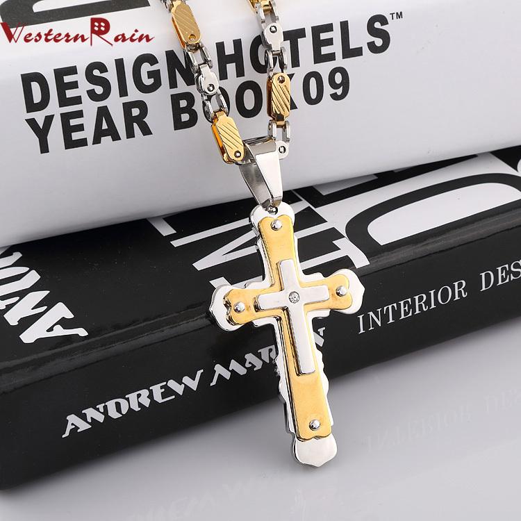 Livraison gratuite 2014 homme collier de mode mis en acierinoxydable pendentif croix& hommes, f5301 bijoux collier