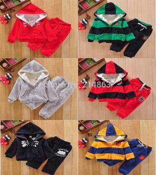 Retail 2014 New! brand baby children's clothing Hoodies coat +pants 2pcs set girls boys kids sport suit autumn winter clothes