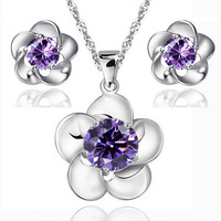 Purple Flower Jewelry Sets925 Sterling Silver Party Jewelry