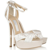 fashion white bridal sandals!!ankle strap platform bridal shoes women!