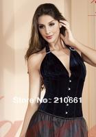 New Sexy Velvet Halter Lace up Corset Bustier Top 9436