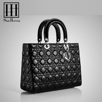 Diana lady black quilted bag famous high quality brand designer name PU leather Handbag snake skin women totes, free shipping