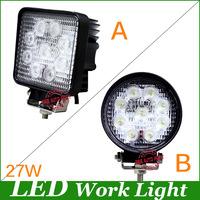Freeship! 27w Work Light 2700 lumens 27W 9-32V Round Epsitar LED Work Lights 6000K 4x4 ATV Tractor Train Bus Flood Beam