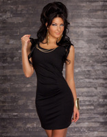New Arrival Sexy evening dress Sexy clubwear Lady Party Chemise+Gold-plated necklace