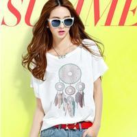 2014 Fashion High Quality Cotton T Shirt Women White Tops Round Collar tops feather pendant plus size blusas femininas TS-067