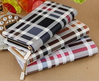 Free shipping Plaid Print Women's Wallets ladies Purse Clutch Bag zipper wallet