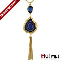 Fashion Vintage Women Gold Plated Blue Magic Onys Resin Pendant Tassel Long Necklace Jewelry
