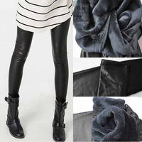 Fashion Fall Winter Bamboo Brushed Faux Leather Beaver Velvet Thick Warm Pants Women's  Large Warm Leggings 9013