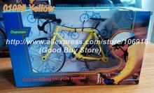 Hot DIY Assembling Diecast Bicycle Model Children's Festival Gifts Educational Toys Grownups Bike Models 0108#Yellow Racing Bike(China (Mainland))