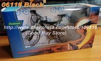 Finished DIY Assembling Bicycle Diecast Model Children's Day Gifts Educational Toys Bike Models 0611# Black Suspension Bike
