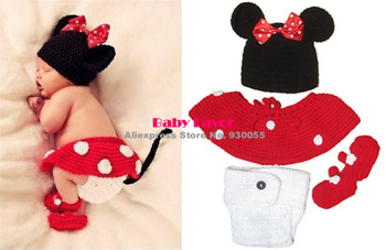 Free Shipping  4pcs Infant Kid Newborn Baby Girl Hat+Skirt+Pants+Shoes Crochet Knitted Prop Outfit Clothes Costume Minnie Red