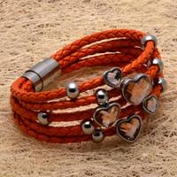 Кожаный браслет Bijouterie Women Jewelry Wrap Yellow Leather Bracelets Stainless Steel Buckle Cheap 07708
